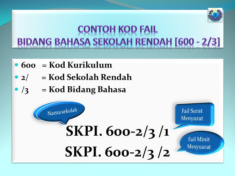 Contoh Kod Fail Bidang Bahasa Sekolah Rendah [600 - 2/3]
